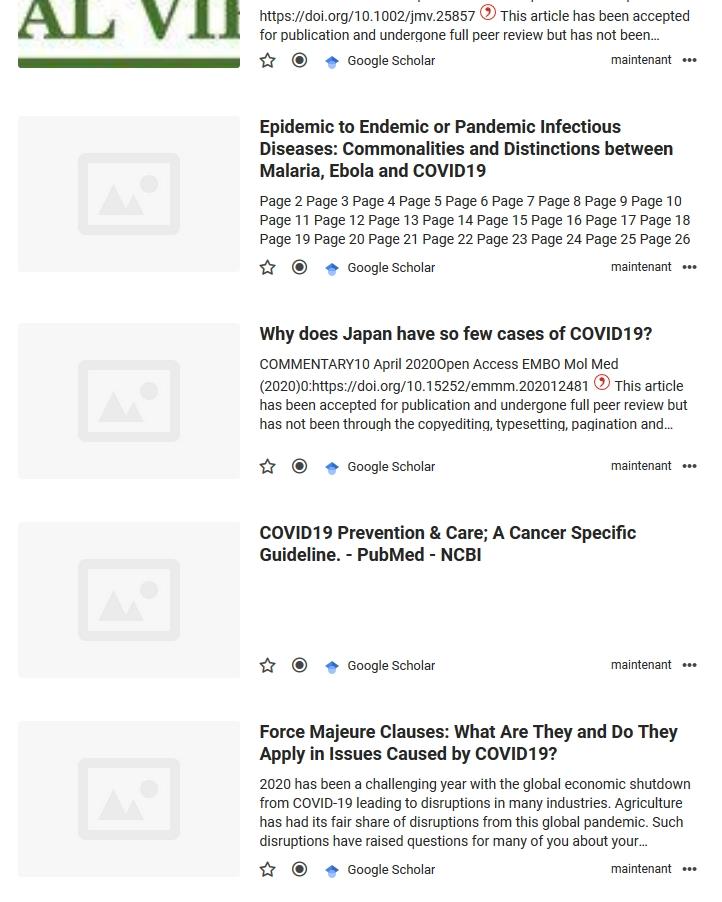 Affichage du flux généré à partir de résultats Google Scholar dans Inoreader